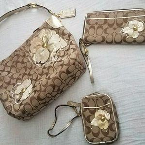 Coach Floral Shoulder Bag, Wallet, & Wristlet